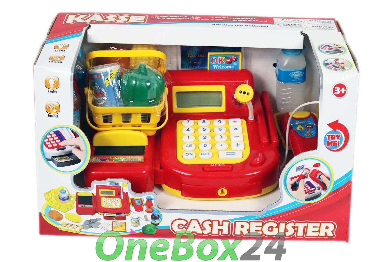cash register rote spielzeugkasse kinder kasse zubeh r spielkasse f r kaufladen ebay. Black Bedroom Furniture Sets. Home Design Ideas
